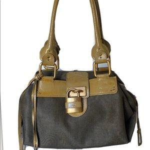 Chloe Paddington patent leather mix satchel olive